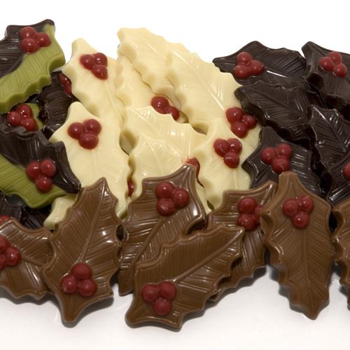 kerstchocolade hulstblaadjes