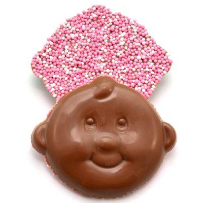 geboorte chocolade baby snoetjes roze