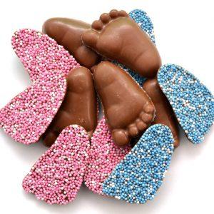 Geboorte chocolade baby voetjes meisje jongen