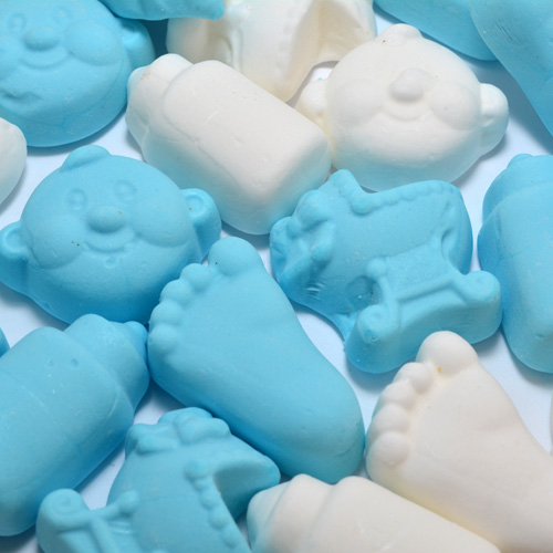 Geboortesnoepjes zacht blauw wit