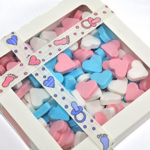 Vruchtenhartjes mix roze-blauw-wit