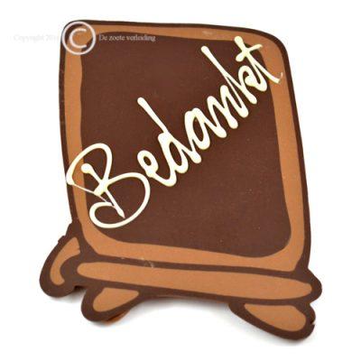 Chocolade schoolbordje bedankt