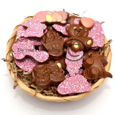 Geboorte chocolade roze in mandje
