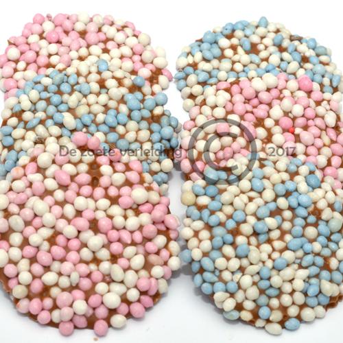 geboorte flikken roze/blauwe muisjes