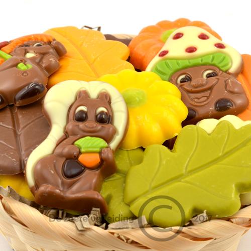 herfst chocolade in mandje