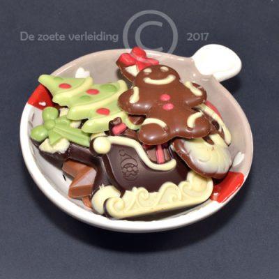 Kerst chocolade in kerstschaaltje