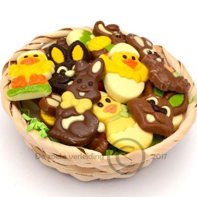 Paaschocolade in mandje
